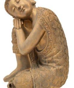Boeddha beeld - 36 cm hoog - tuindecoratie - tuinbeeld - Boeddhabeeld - zittend brons