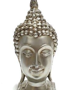 Boeddha hoofd Sukhothai hoofd op sokkel zilveren boeddhahoofd 20cm