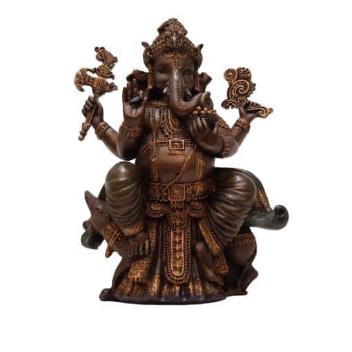Ganesha Beeld Zittend op Rat 20 cm