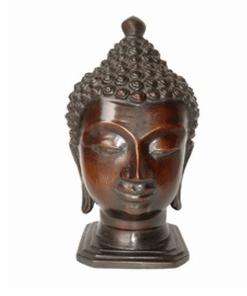 Thais Boeddha hoofd 22cm - Donker Boeddhahoofd - Huisdecoratie